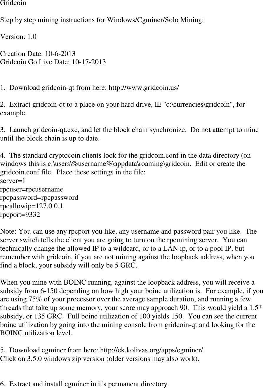 GridCoinMiningInstructions Grid Coin Mining Instructions