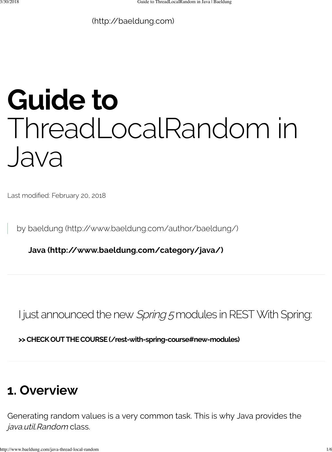 Guide To Thread Local Random In Java Baeldung
