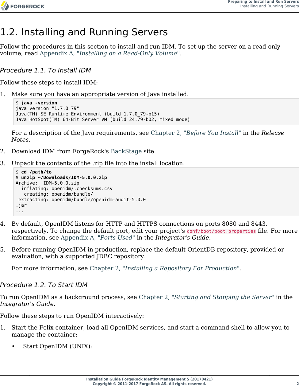 Installation Guide ForgeRock Identity Management 5 IDM Install
