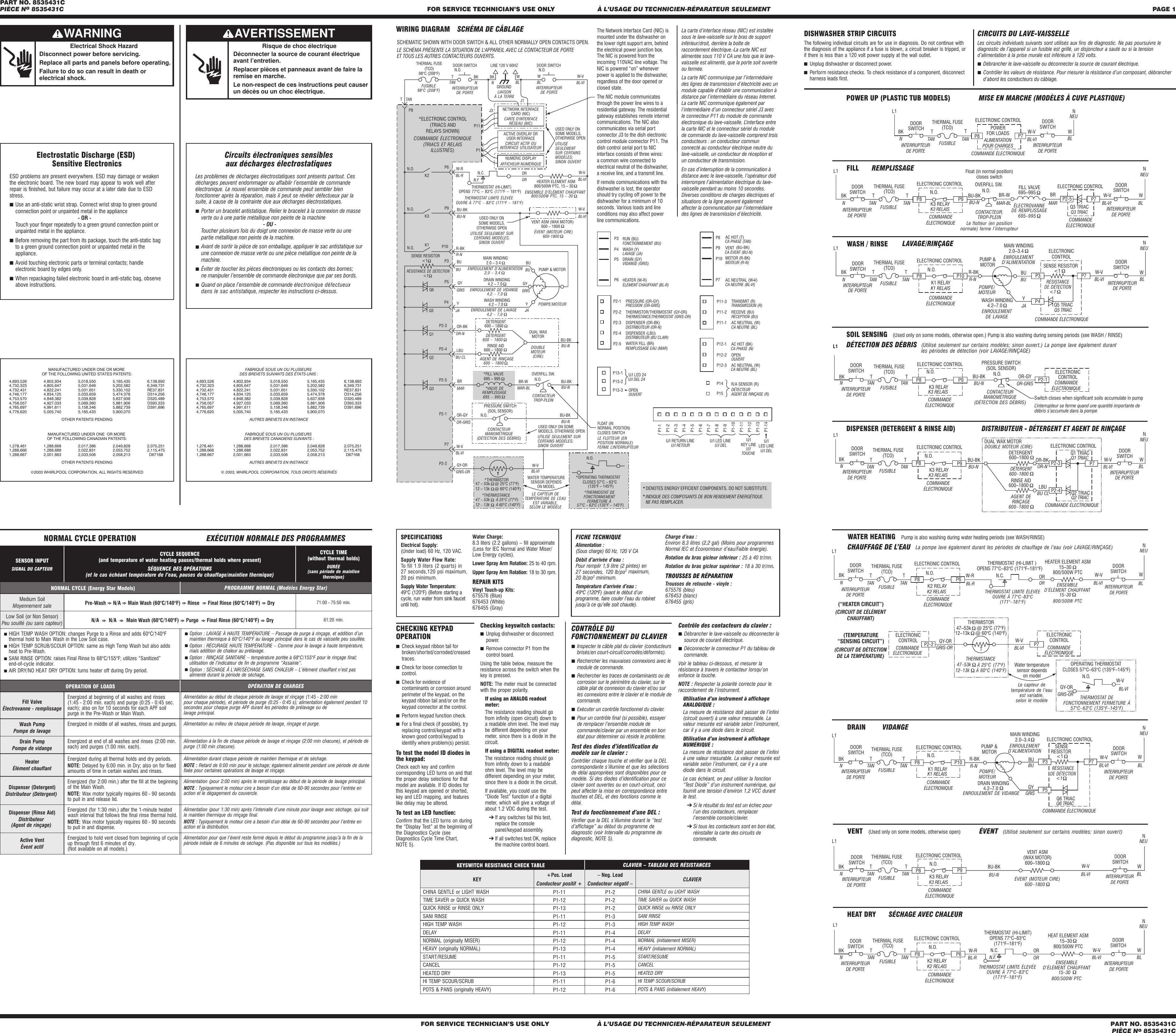 Page 1 of 2 - ZD70645_8535431C.vp  Kenmore Dishwasher Tech Sheet 665.74362K2