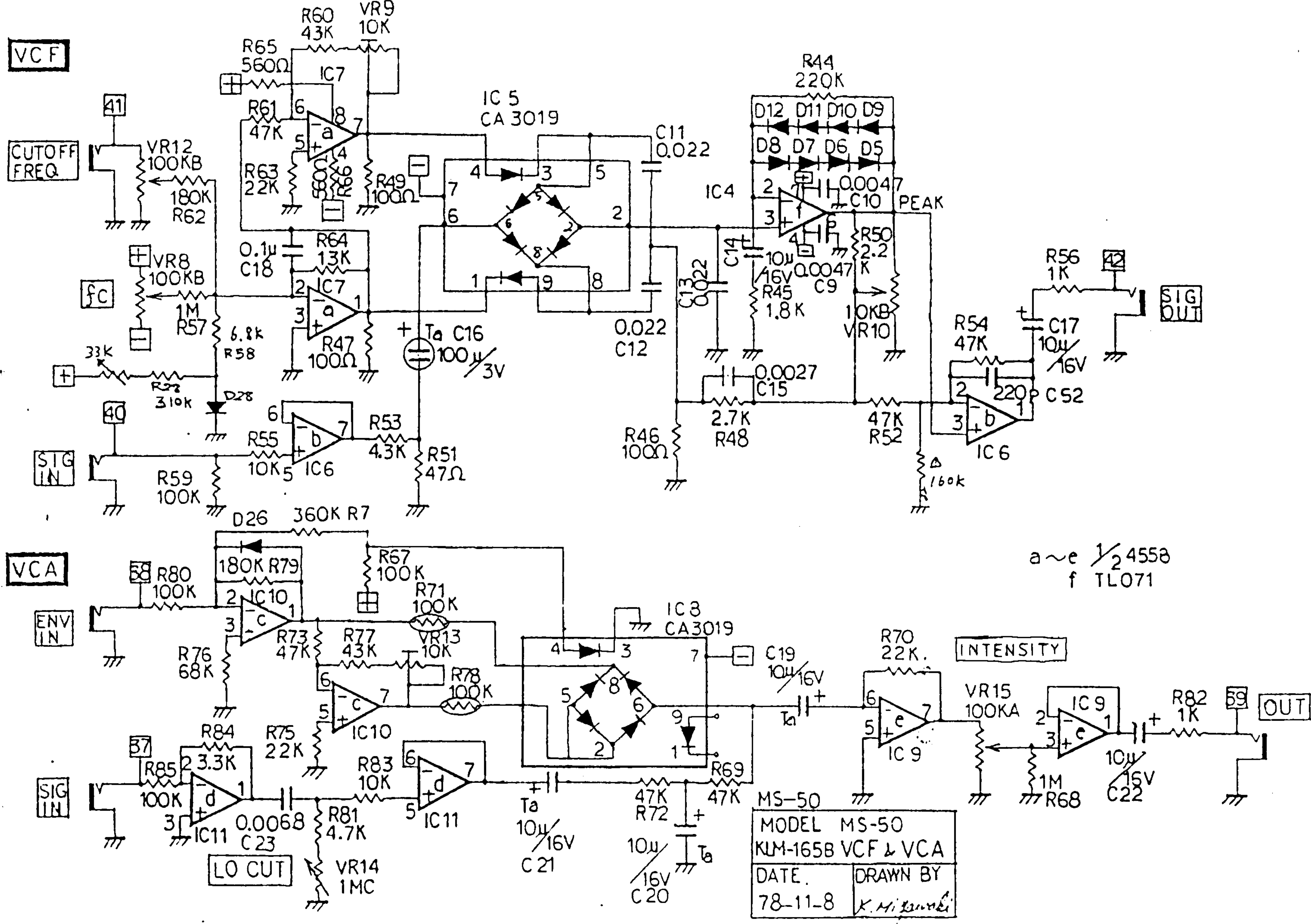 Korg MS50 VCF VCA Schematic Vca Schematic on