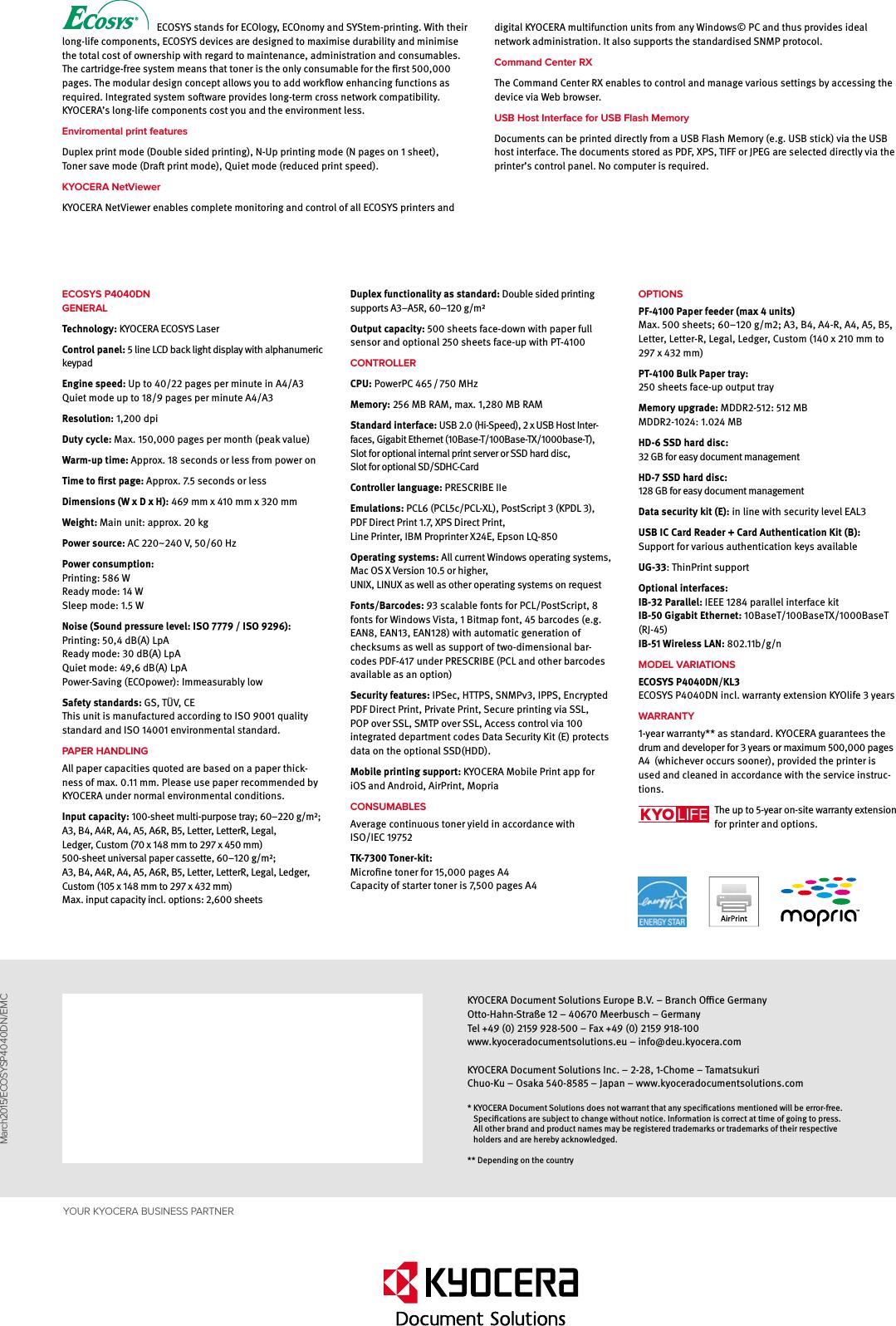Kyop4040Dn KYOCERA ECOSYS P4040dn Datasheet User Manual