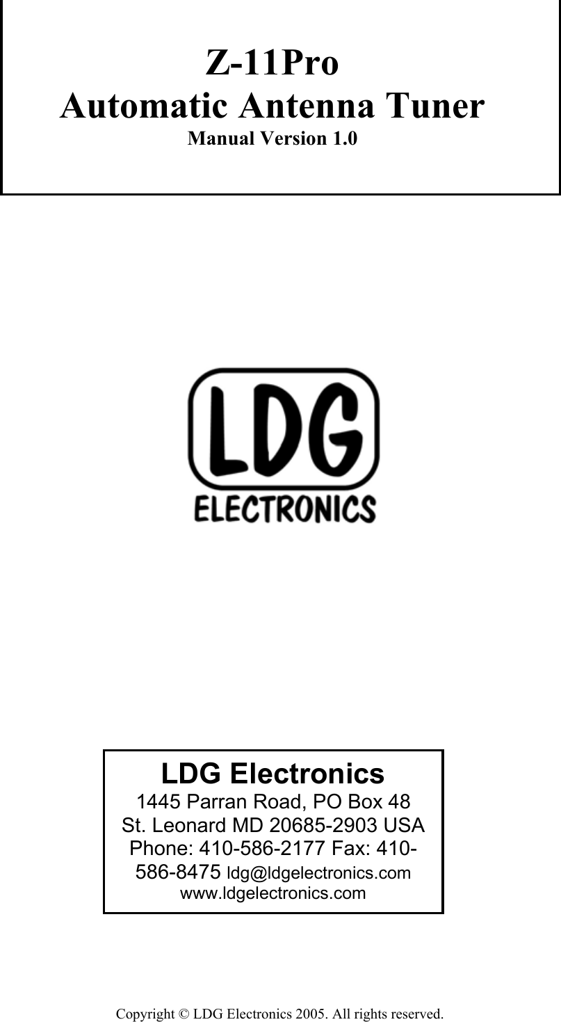 Z 11Pro Manual 1 0 LDG Antenna Tuner