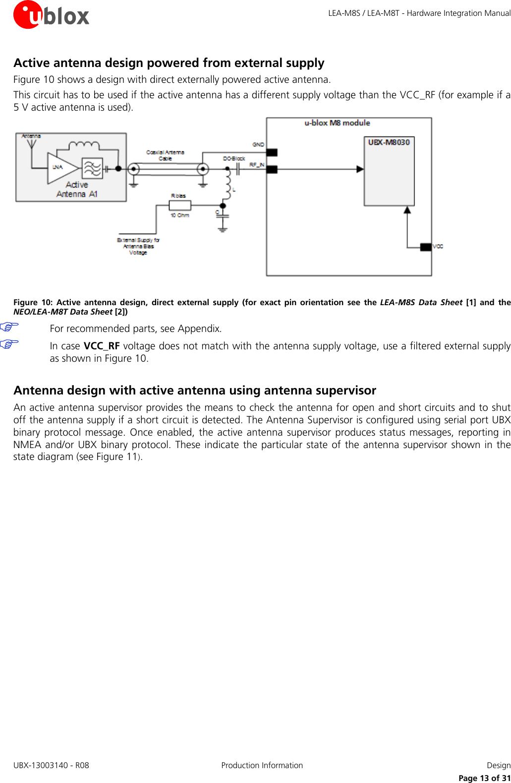 LEA M8S / M8T Hardware Integration Manual (UBX 13003140)