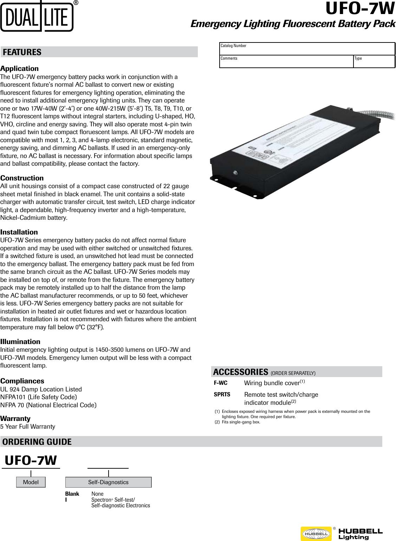 Lampak Ufo7w Spec Sheet Automatic Emergency Light Circuit
