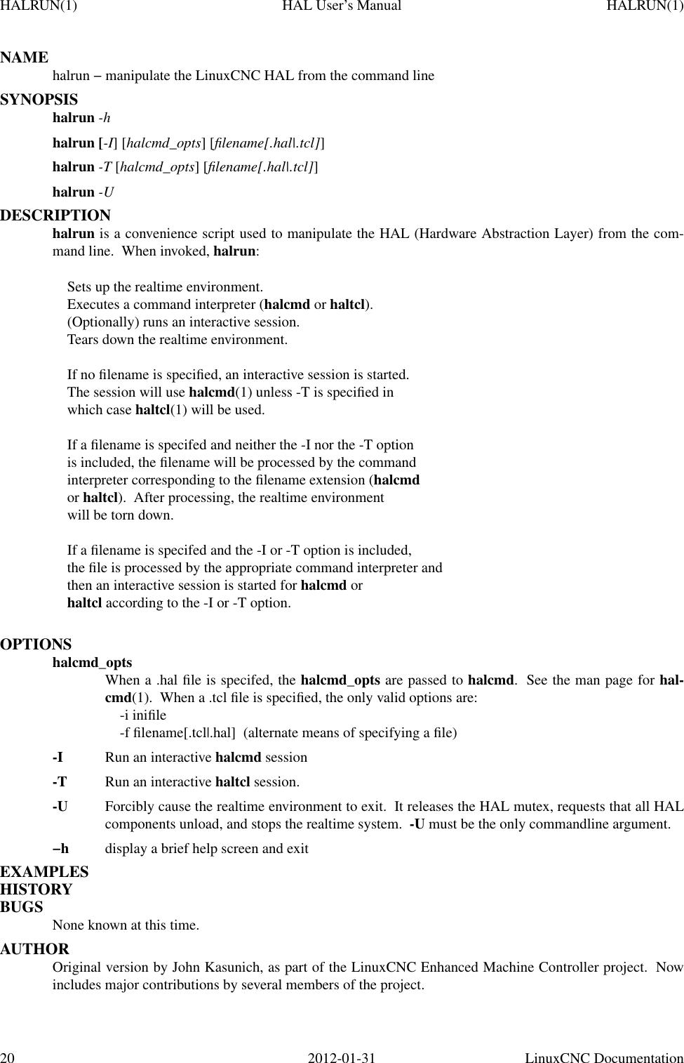 Linuxcnc Documentation