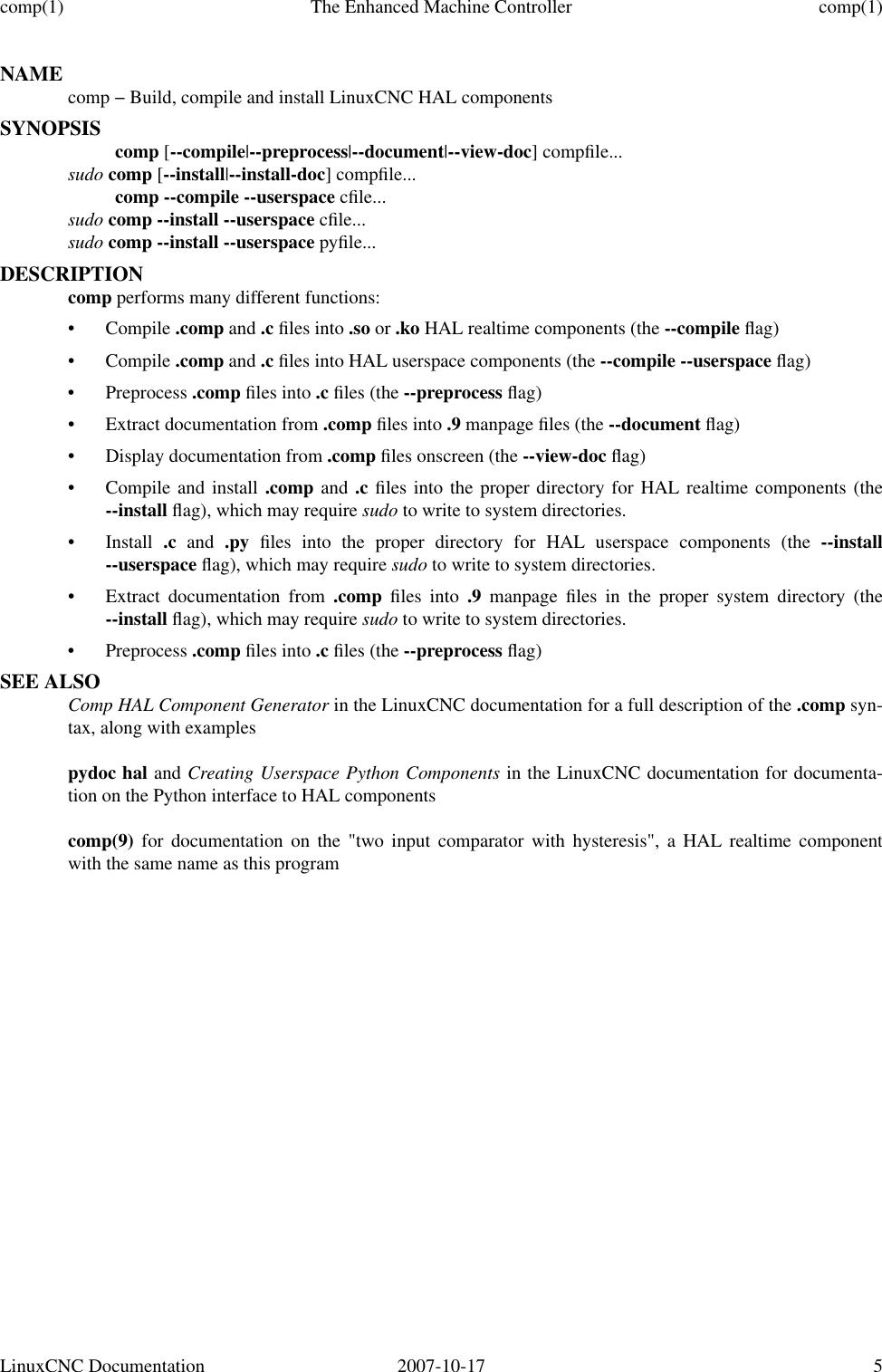 Linux CNC Manual Pages