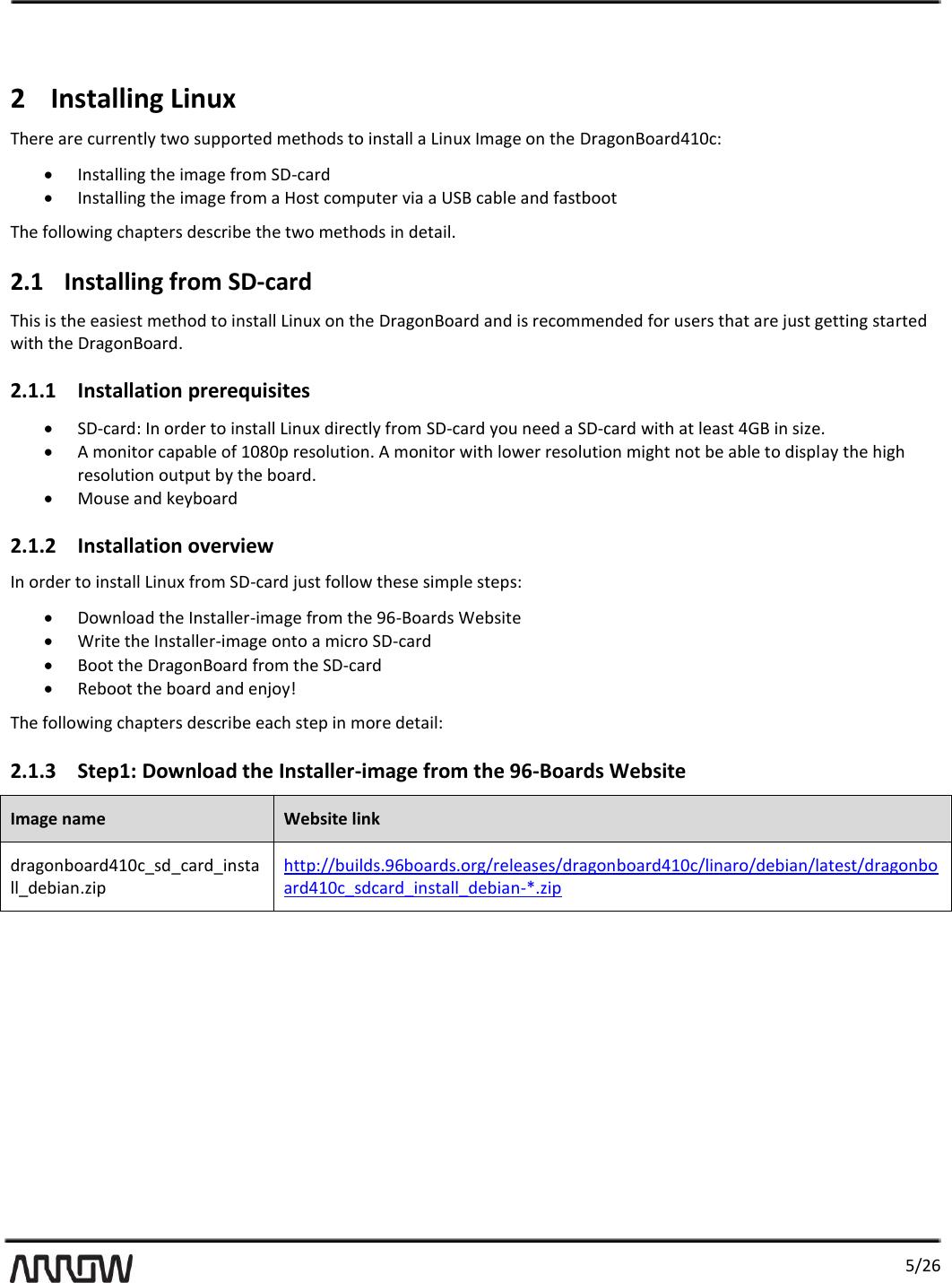Linux User Guide Dragon Board
