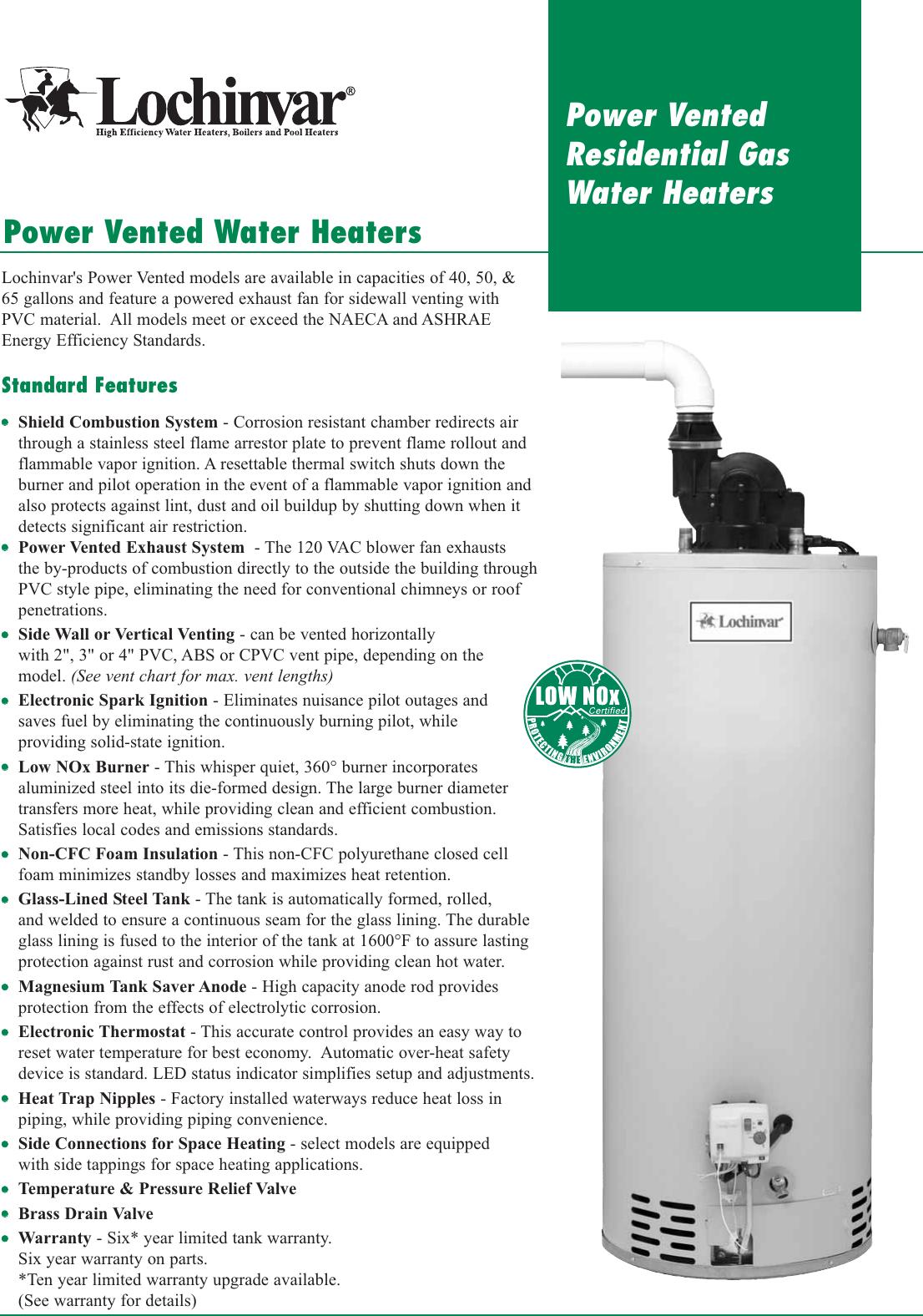 Lochinvar Power Vent Residential Water Heater Tech Sheet