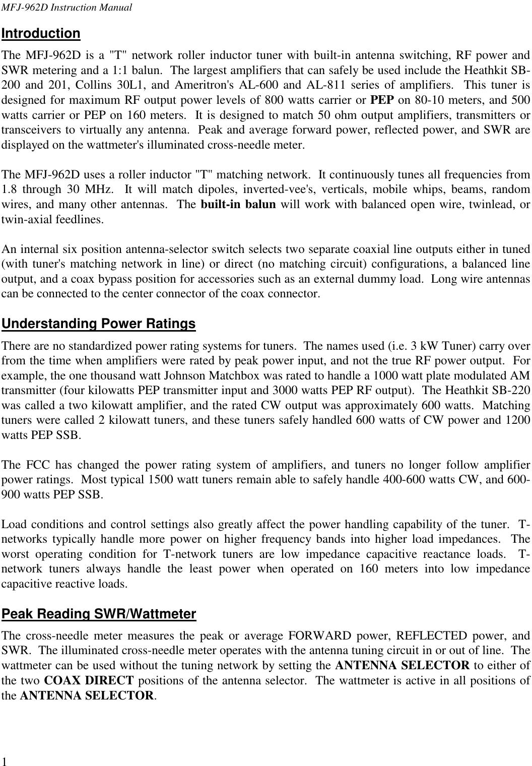 MFJ 962D Instruction Manual