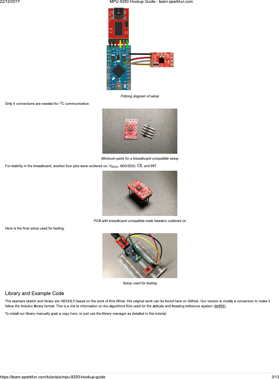 MPU 9250 Hookup Guide Learn sparkfun com