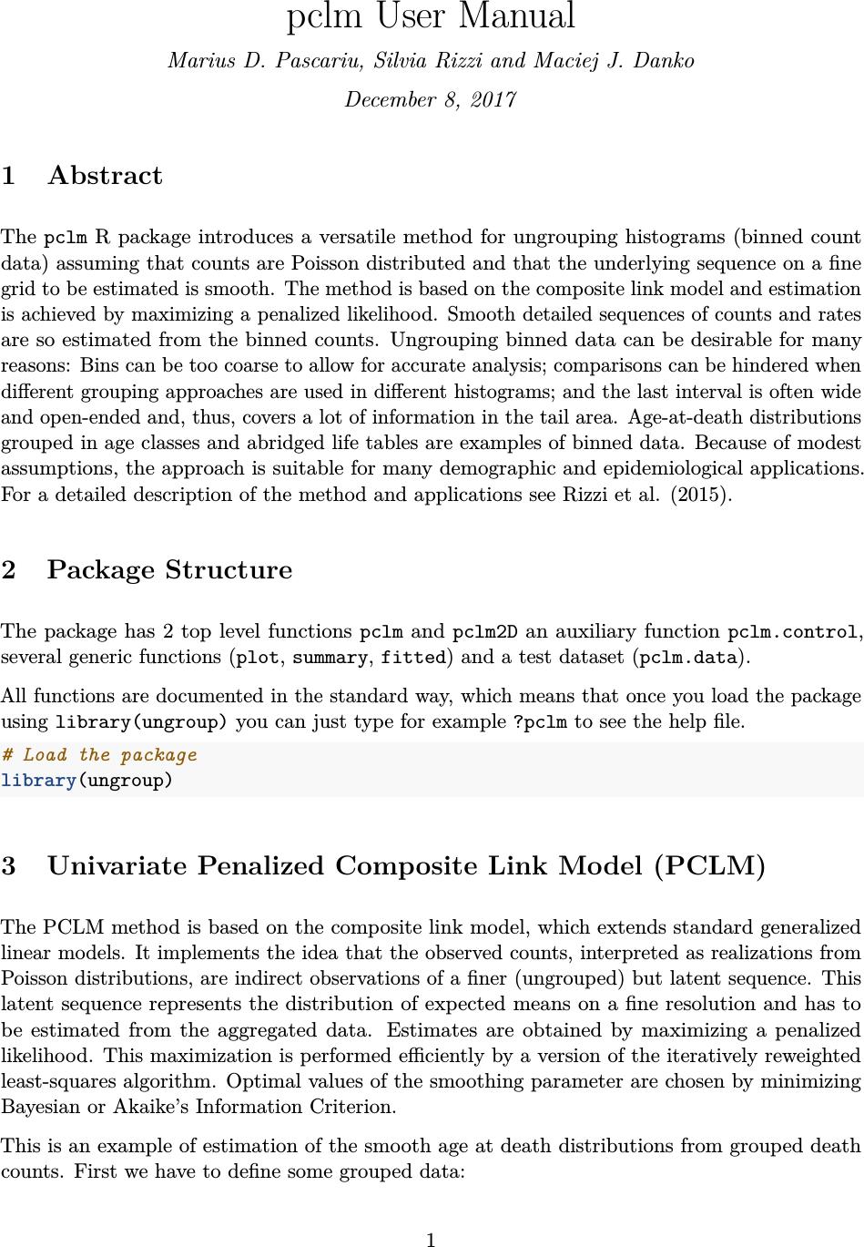 Pclm User Manual