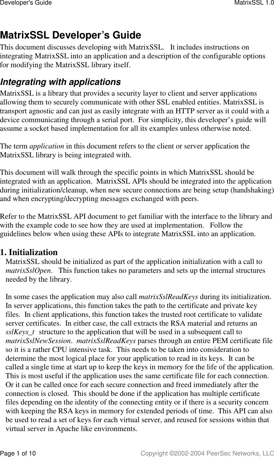 Matrix SSLDeveloper Guide