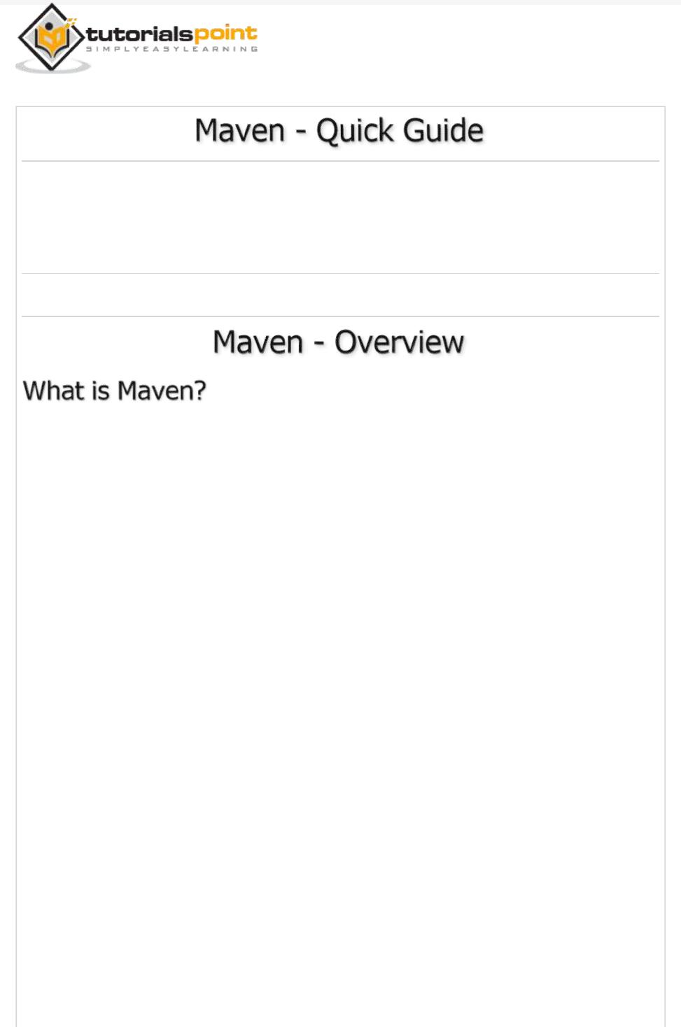 Maven Quick Guide Tutorialspoint