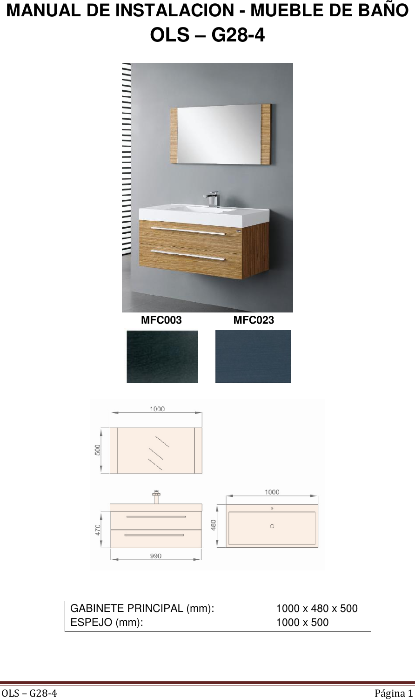 Mueble 2cj 99 Espejo 100×50 Lvm Mad Carbon Ficha Tecnica # Muebles Ficha Tecnica