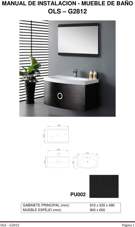 Mueble Indux Con Lavamanos Y Espejo Wengue Ficha Tecnica Ols G2812 1 # Muebles Ficha Tecnica