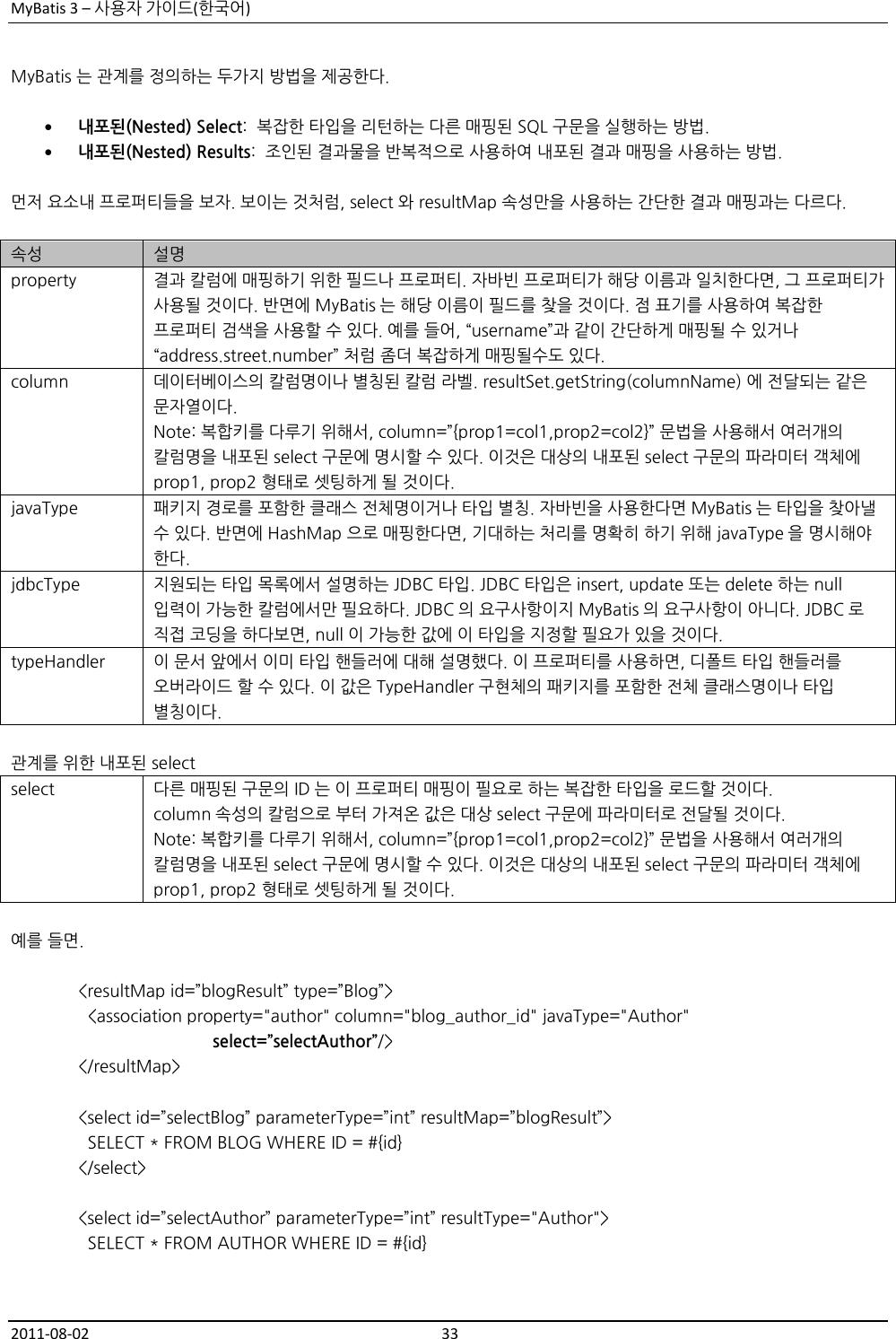MyBatis 3 사용자가이드 My Batis User Guide Ko