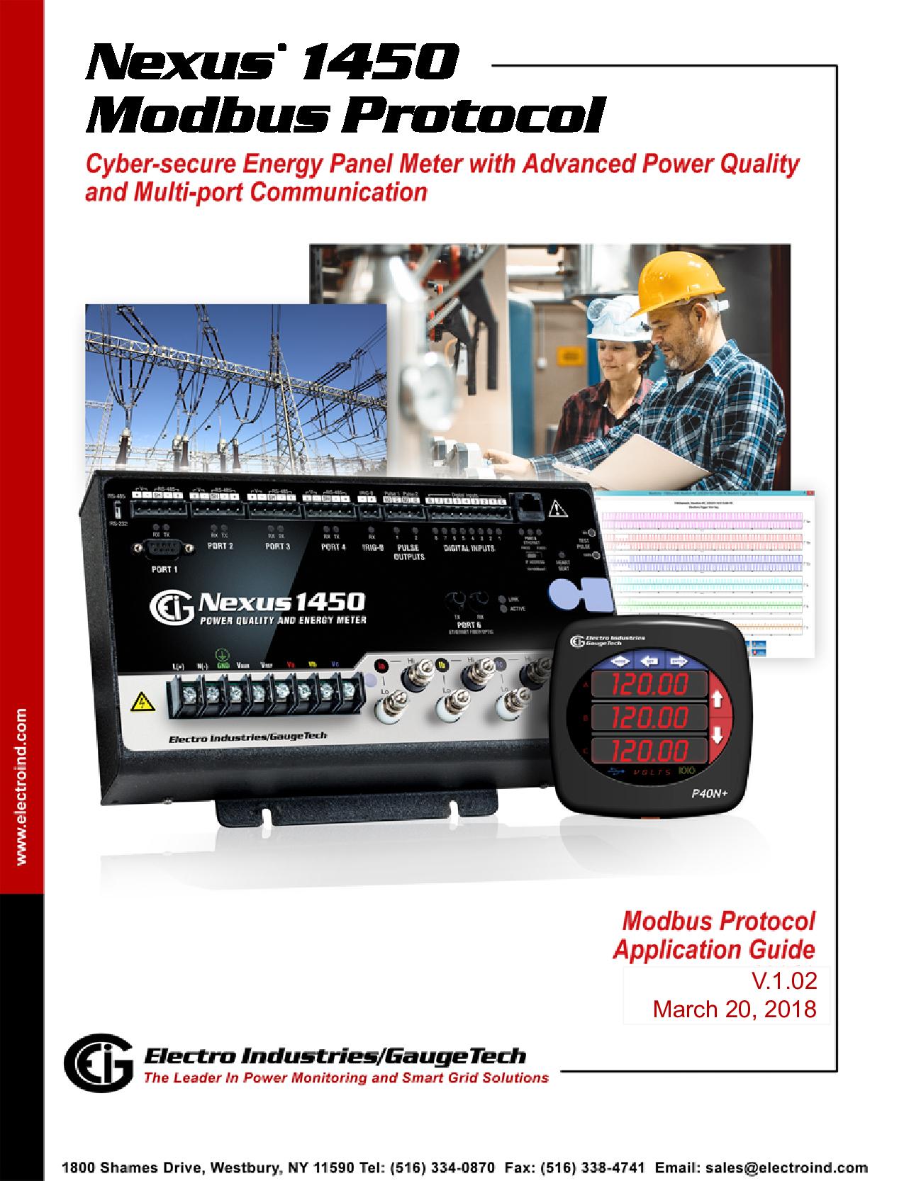 Nexus 1450 Power Meter Modbus Manual V 1 02 E171707