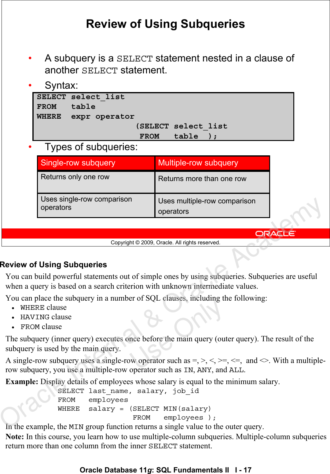 Microsoft CoverPage_1 [Read Only] Oracle Database 11g SQL