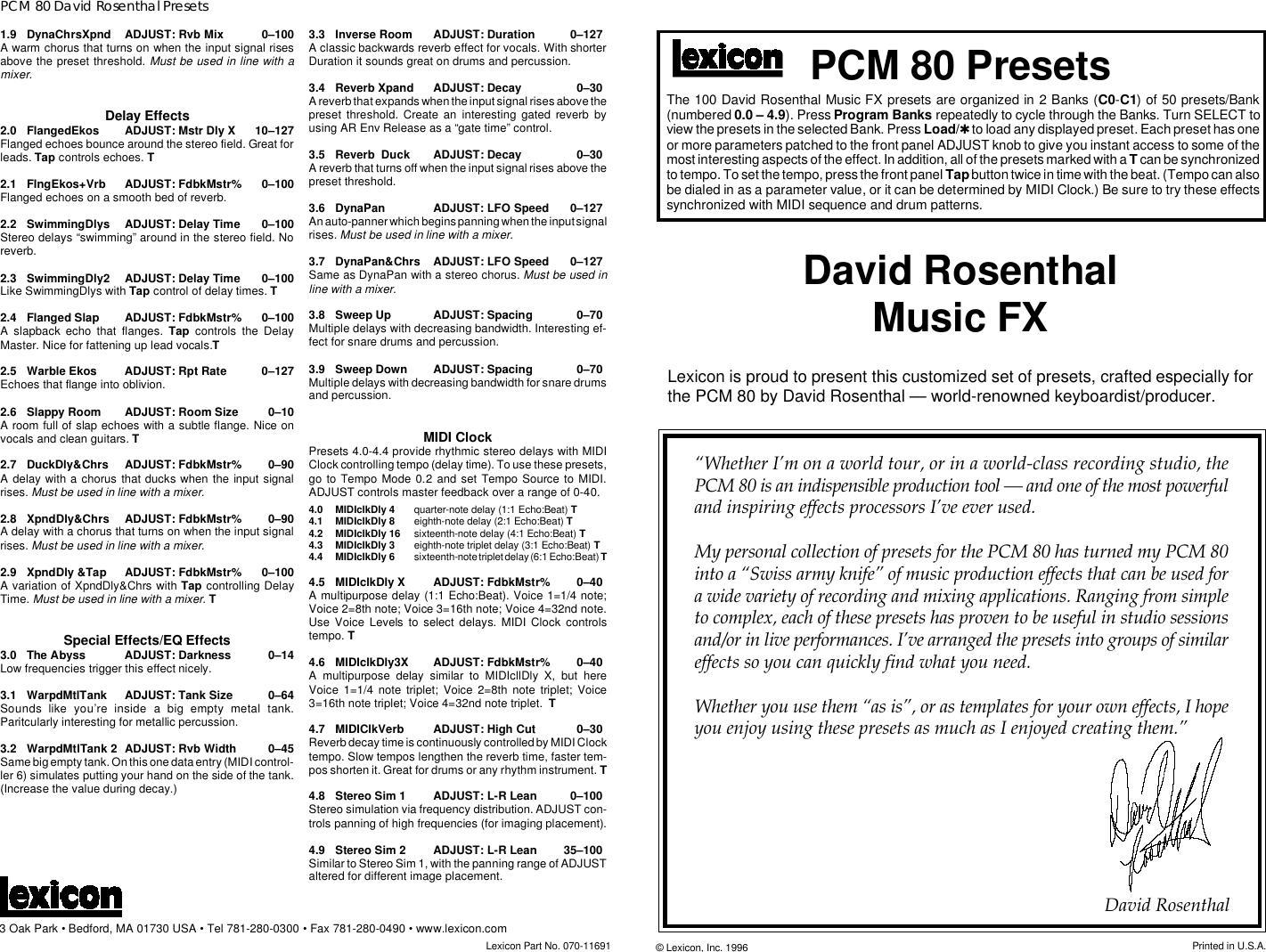Lexicon PCM80 Music FX Presets Original