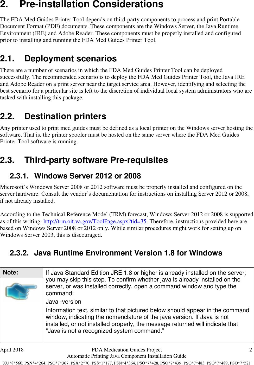 FDA Med Guides Java Component Installation Guide PHAR AUTO