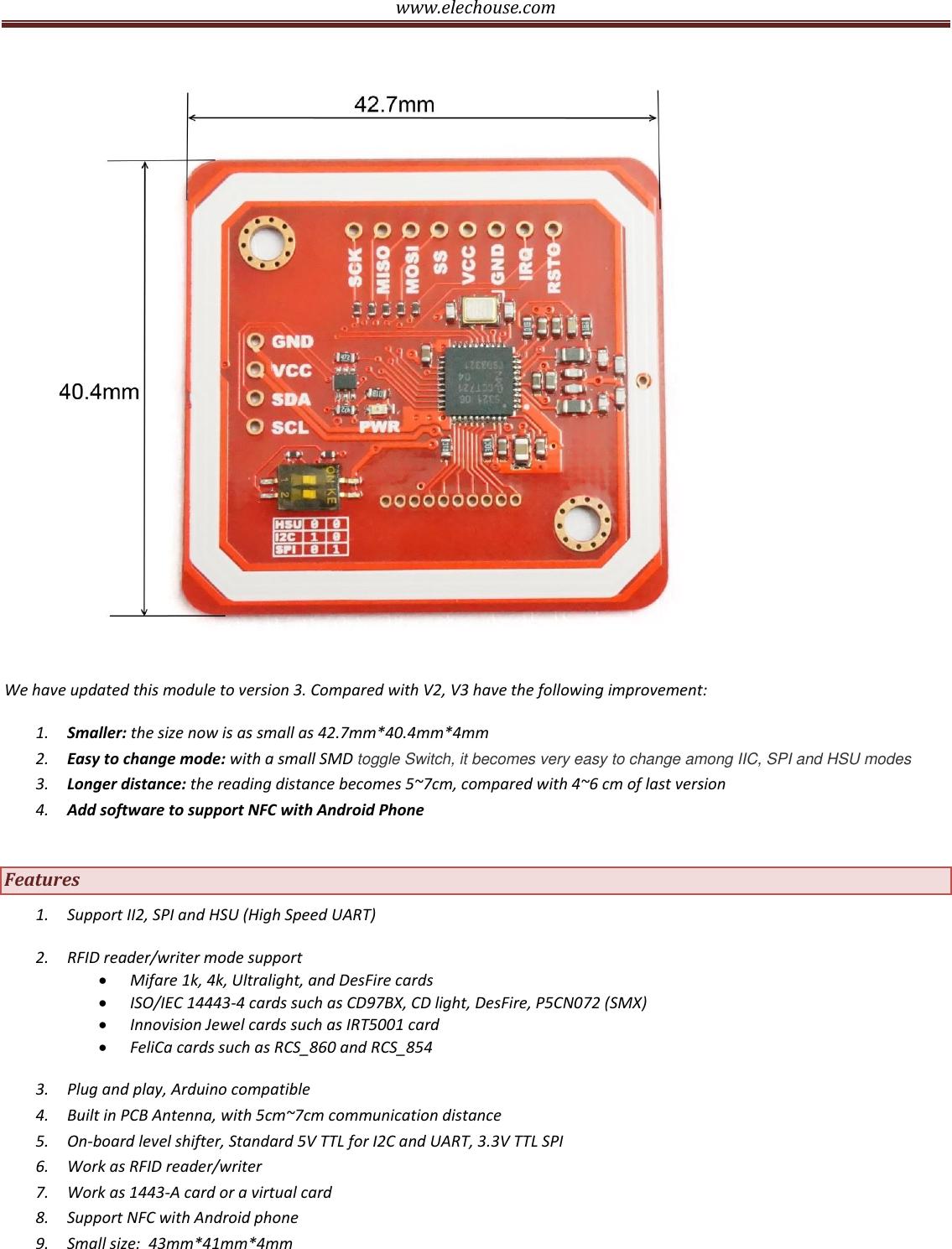 Www elechouse com PN532 Manual V3