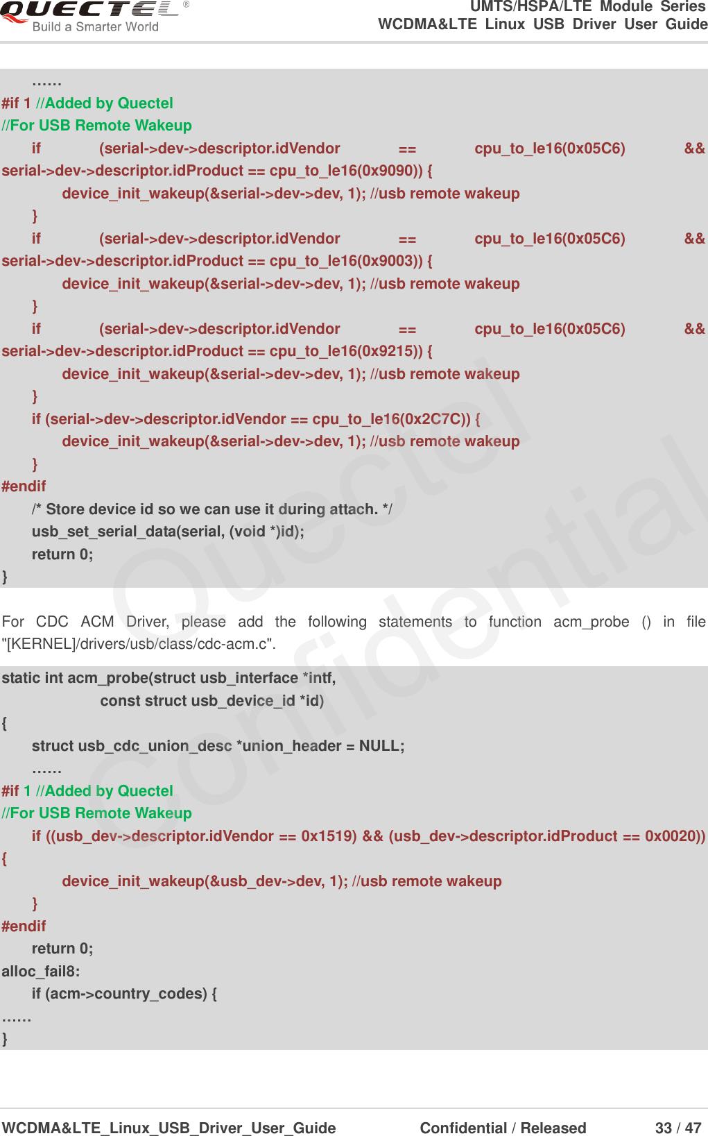 Quectel WCDMA<E Linux USB Driver User Guide V1 7