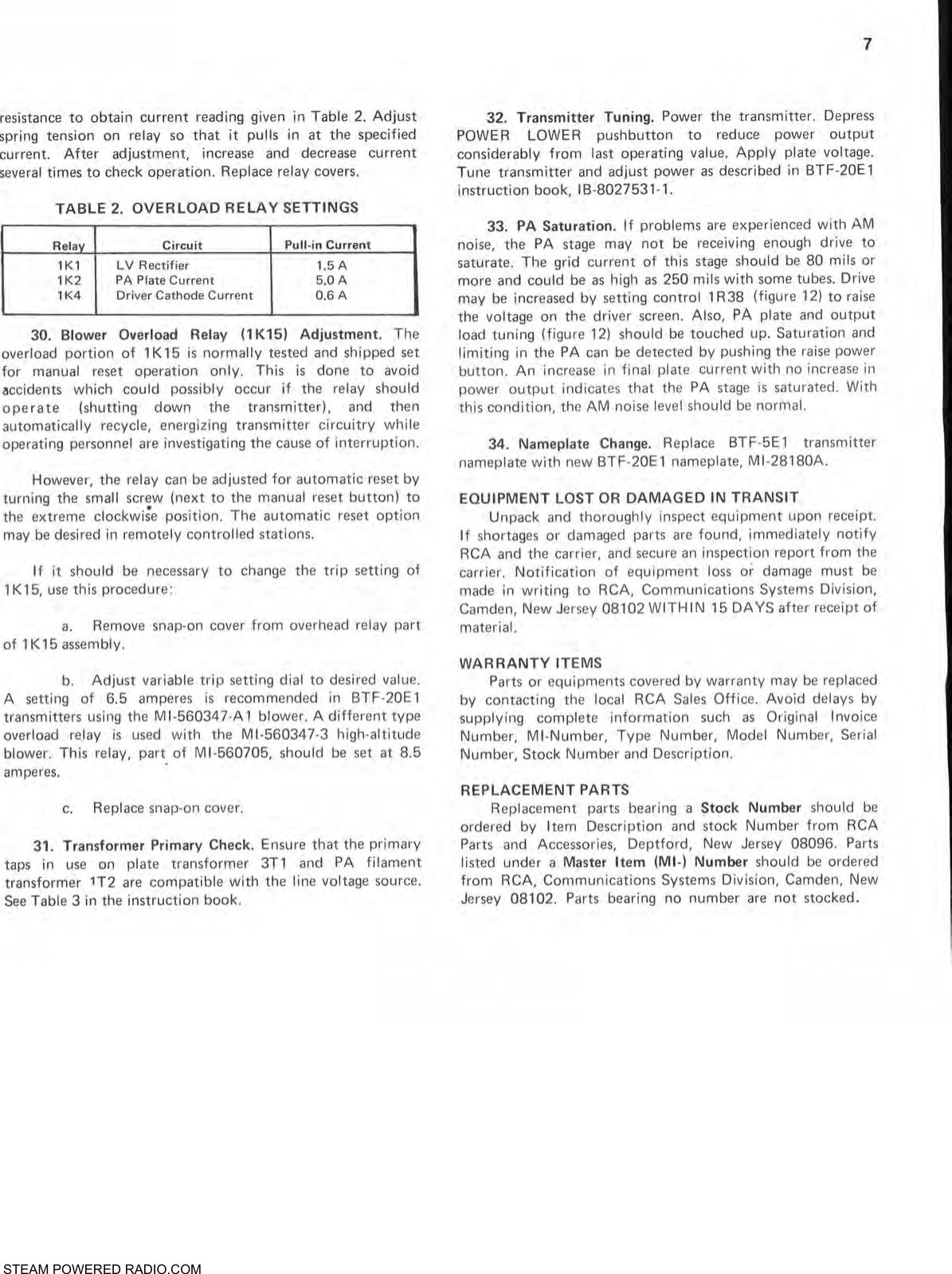 RCA BTF 5E1 To 20E1 FM Transmitter Power Conversion Kit Manual 2