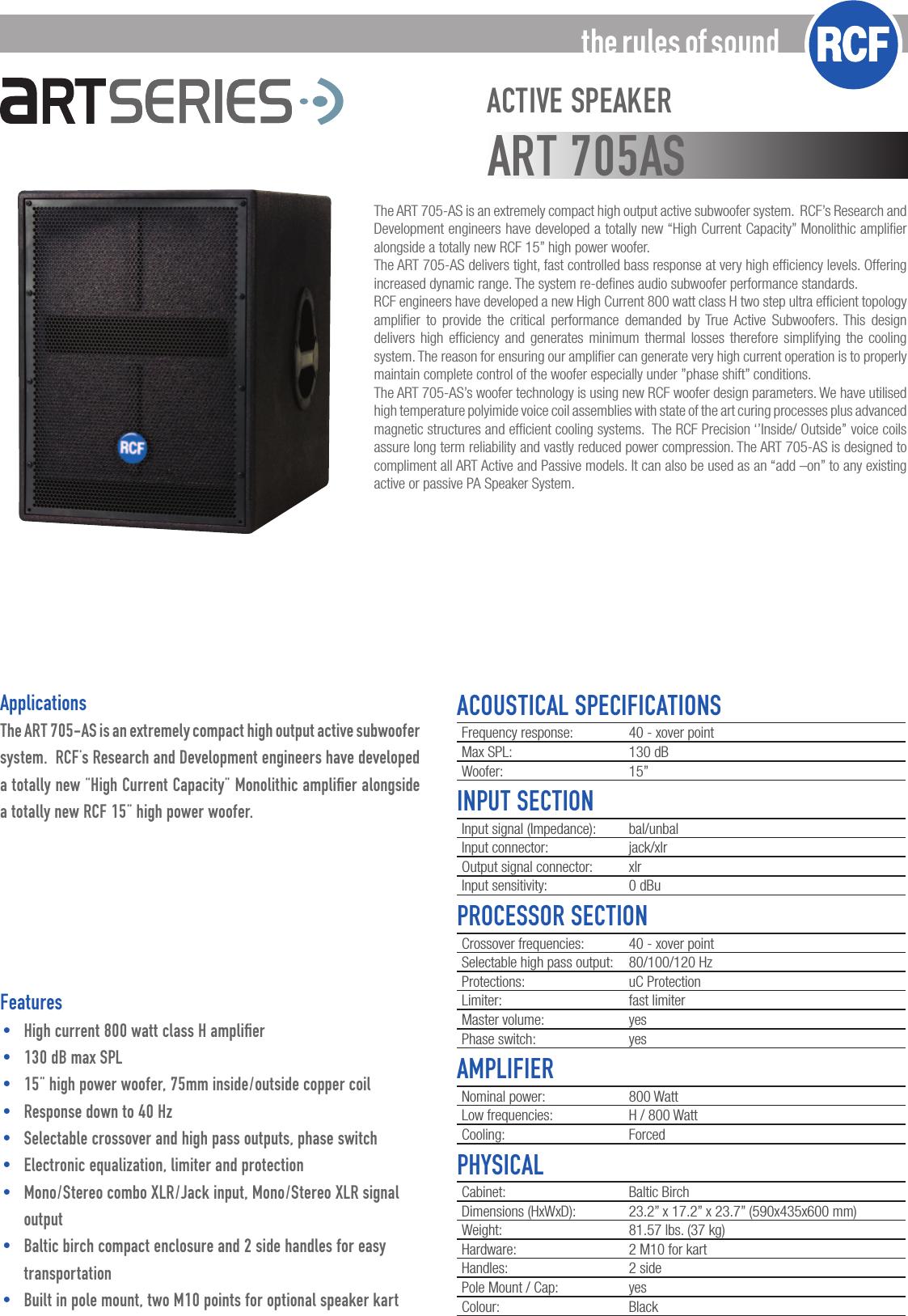 Rcfartsub705As 705AS User Manual