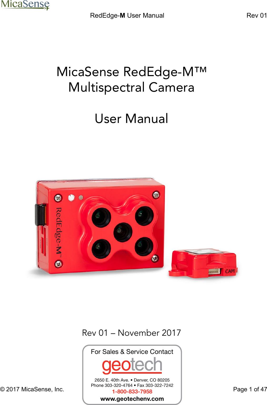 MicaSense RedEdge M Multispectral Camera User Manual Red Edge