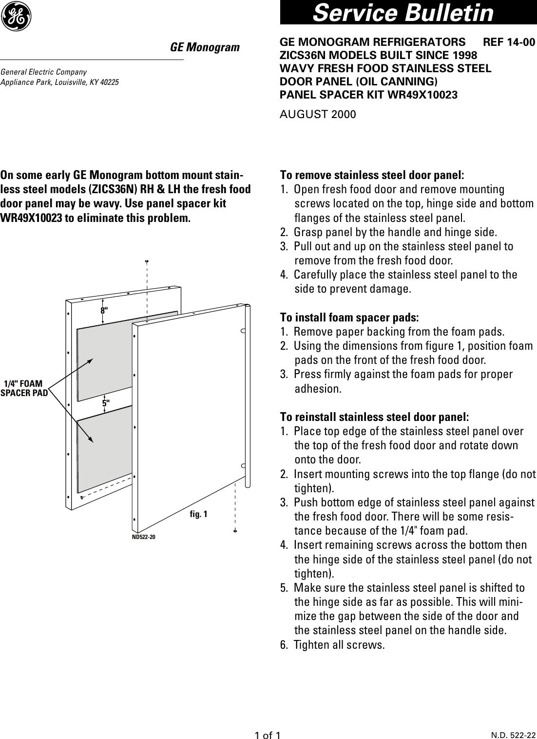 TRB26PPDA REF14 00 Door Panel Spacer Kit