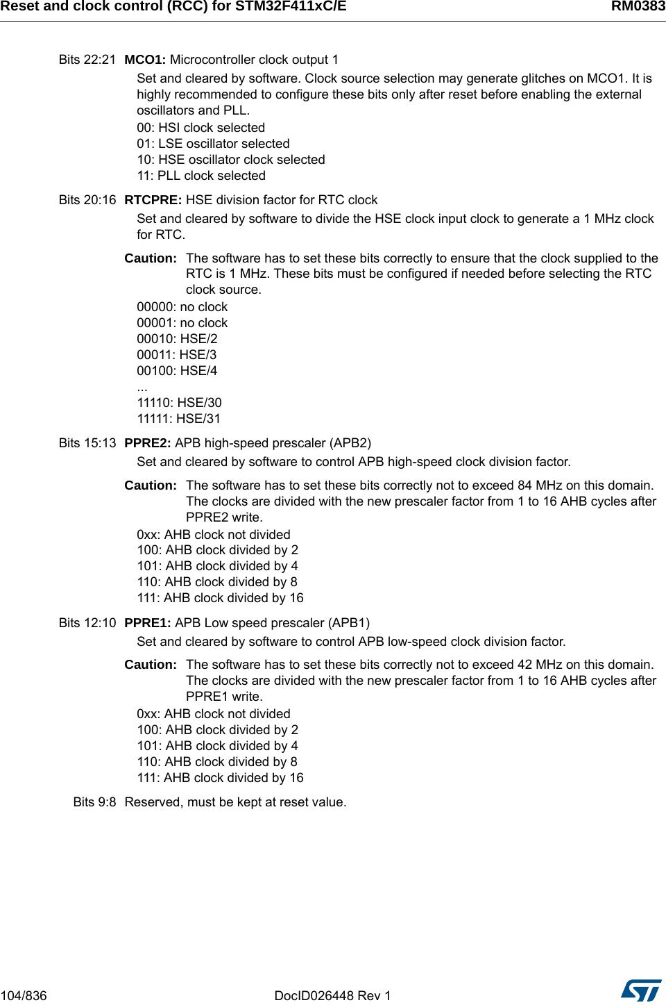 STM32F411xC/E Advanced ARM® based 32 bit MCUs Ref Manual STM32 F411RE
