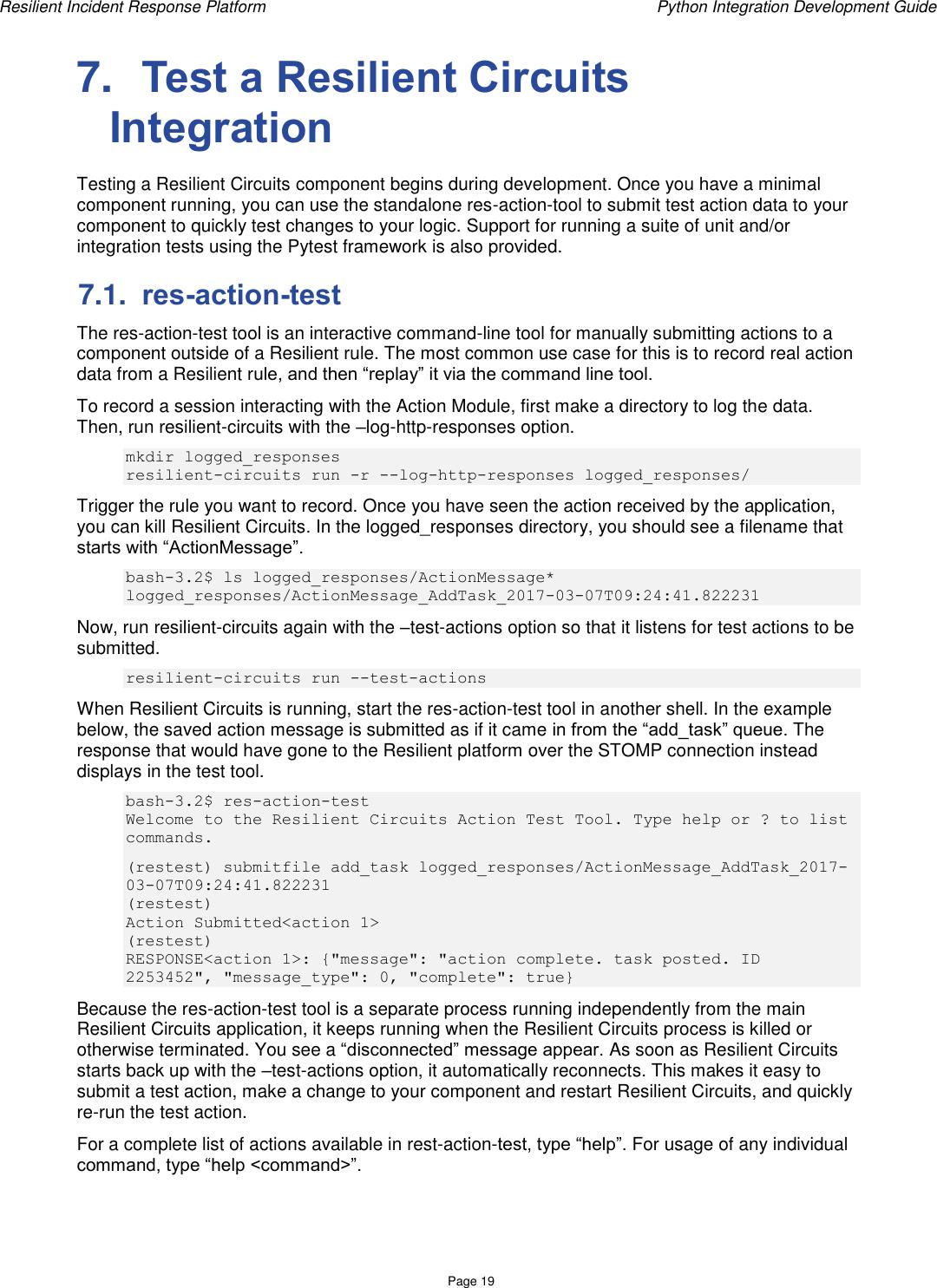 Resilient Python Integration Development Guide