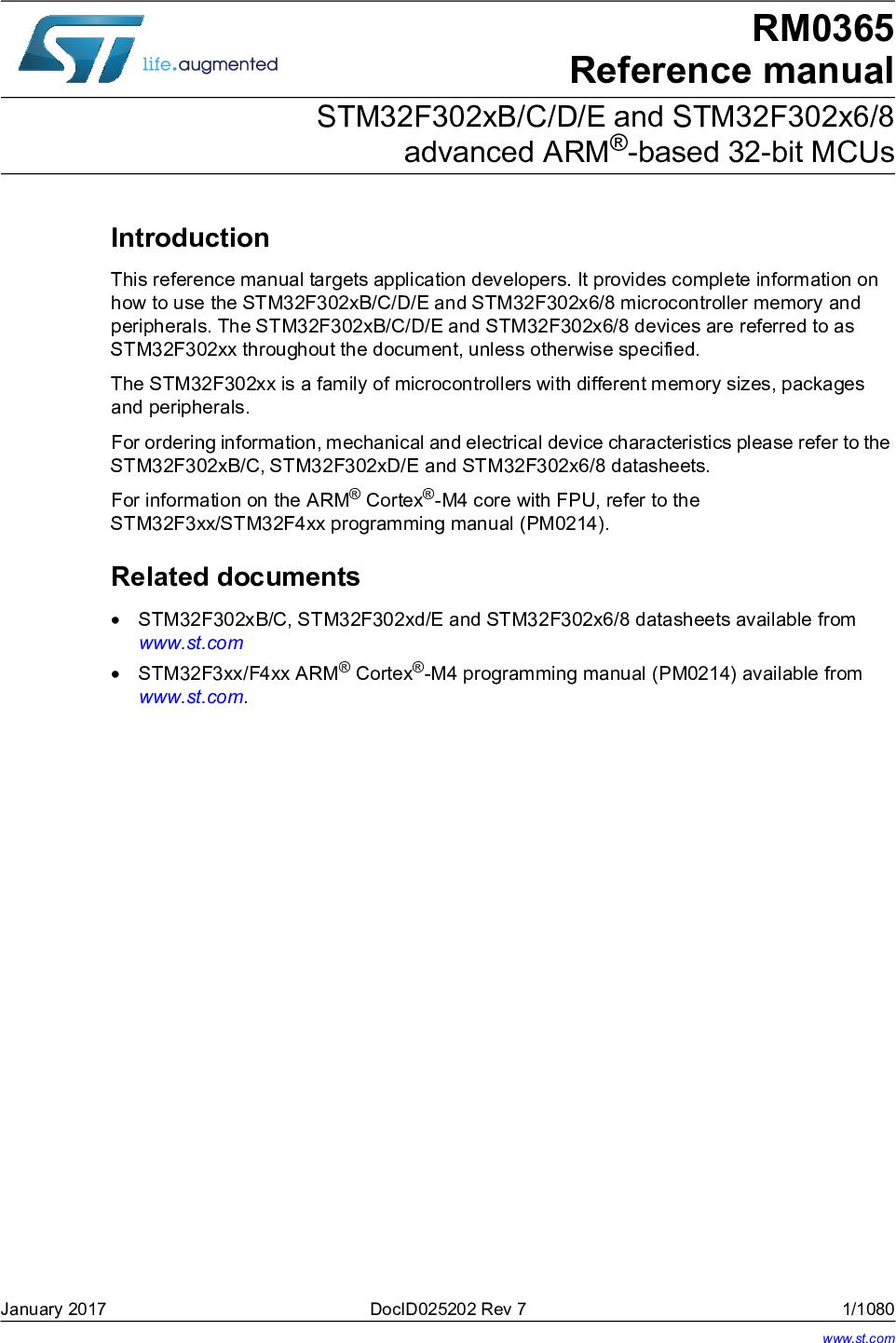 STM32F302xB/C/D/E And STM32F302x6/8 Advanced ARM® based 32