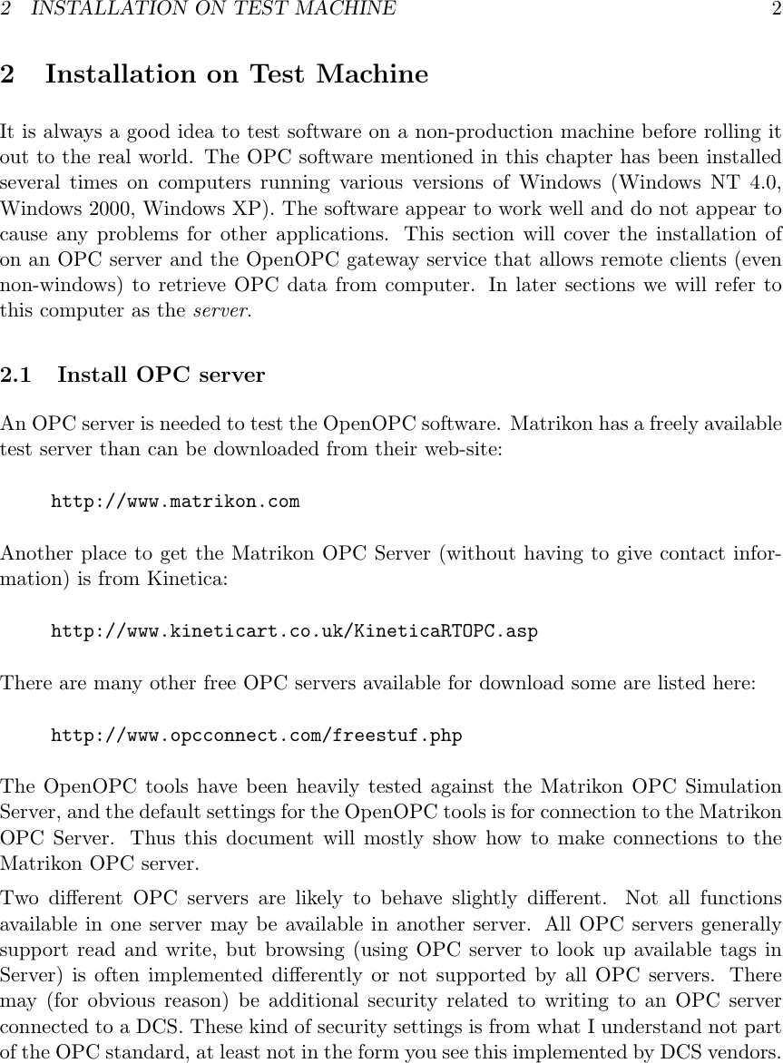 OpenOPC Notes SUPPLEMENTAL Doc guide V 1 6