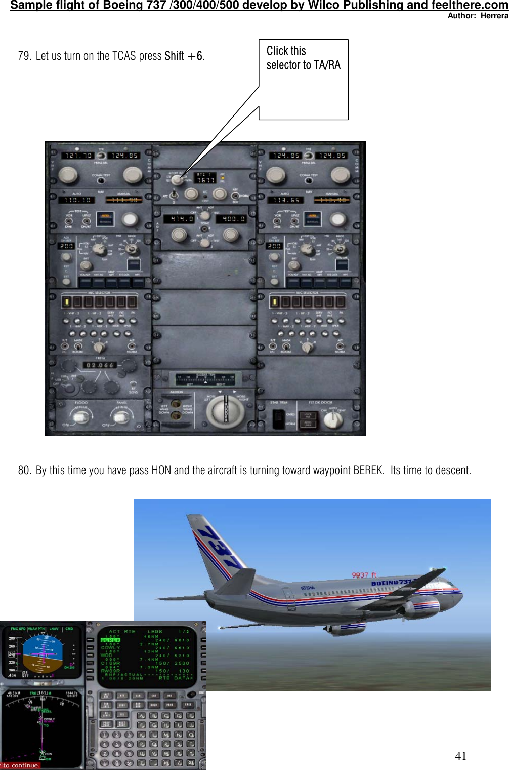 Tutorial Flight FOR WILCO FEEL THERE BOEING 737 Sample 737PIC