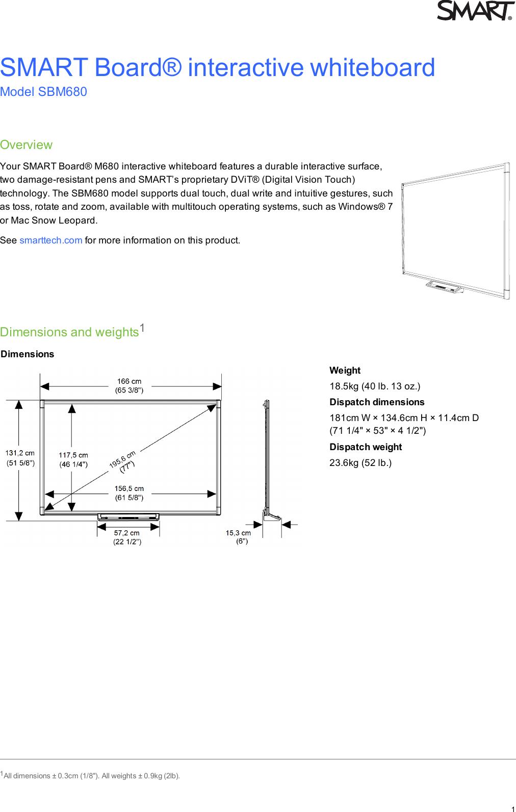 smasbm680b smart board m600 interactive whiteboard specifications rh usermanual wiki Smartboard 680 Installation Interactive Whiteboard