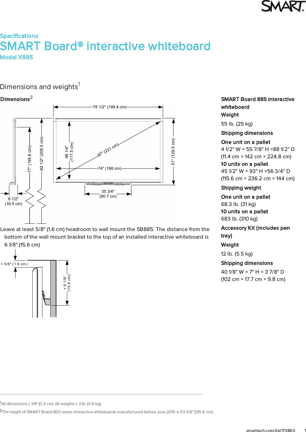 Smasbx885D2 SMART Board 885 Interactive Whiteboard Specifications User  ManualUserManual.wiki