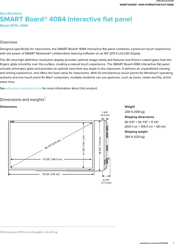 smaspnl4084bun smart board 4084 interactive flat panel rh usermanual wiki smartboard user guide smart board user manual