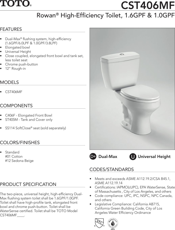 ss 00549 cst406mf rh usermanual wiki Fluidmaster Universal Toilet Flapper American Rundle Toilets