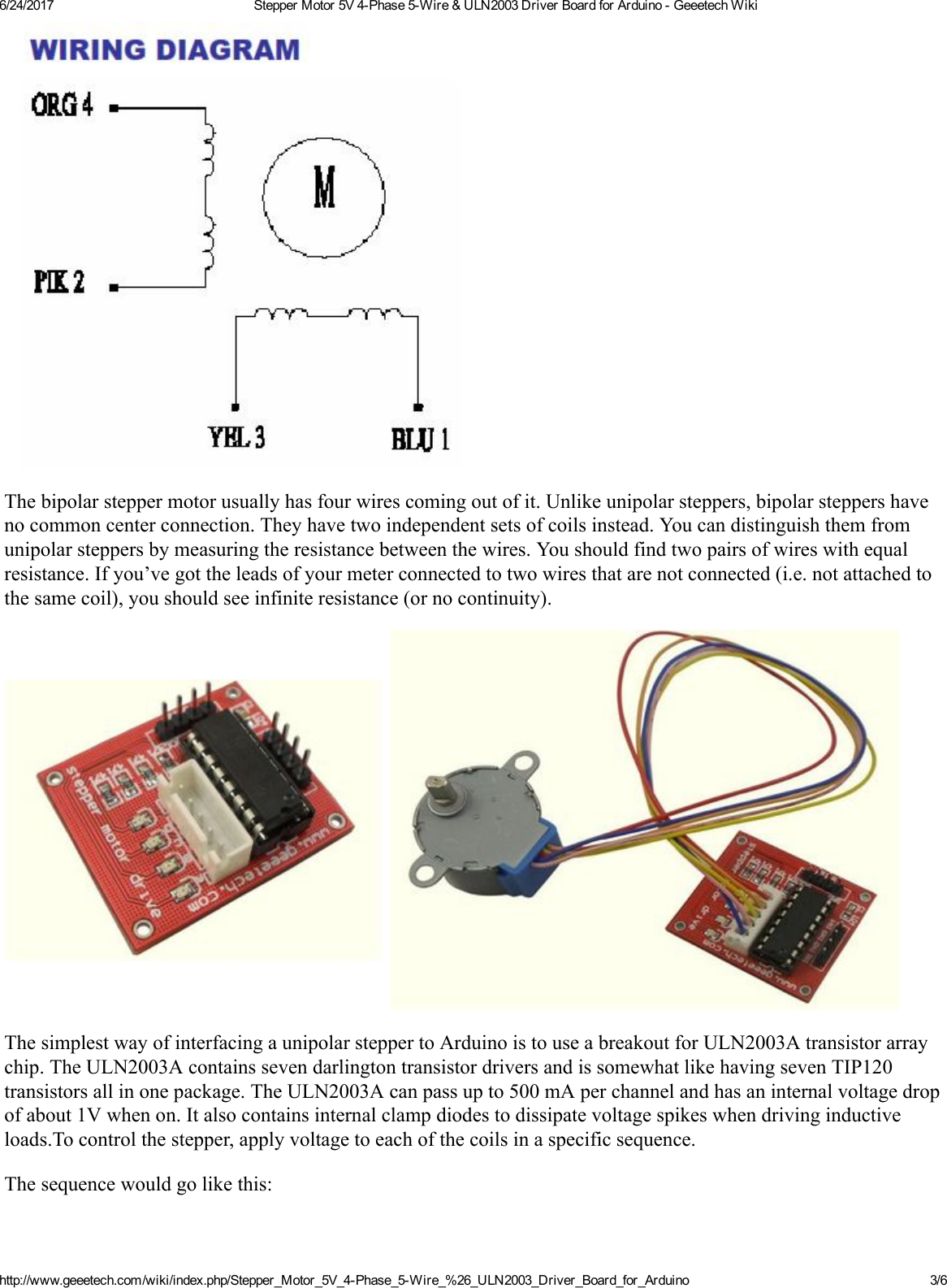 Stepper Motor 5v 4 Phase 5 Wire Uln2003 Driver Board For Arduino Wiring Page 3 Of 6