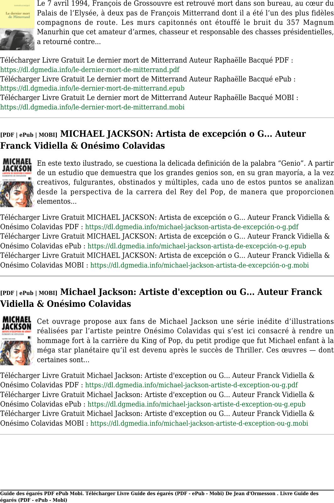 télécharger livre gratuit guide des égarés par jean d ormesson pdf