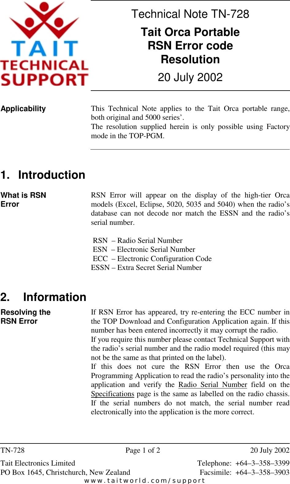 Page 1 of 2 - TECHNOTE/T5000/TN-728_ORCA RSN Error Code Fix TN-728 ORCA