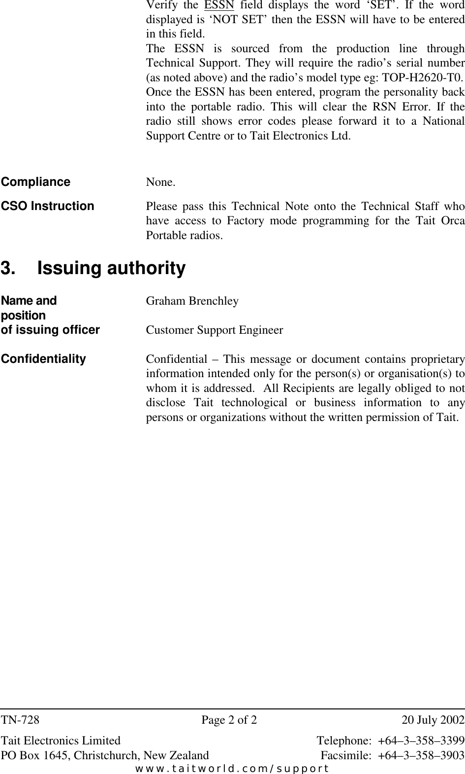 Page 2 of 2 - TECHNOTE/T5000/TN-728_ORCA RSN Error Code Fix TN-728 ORCA