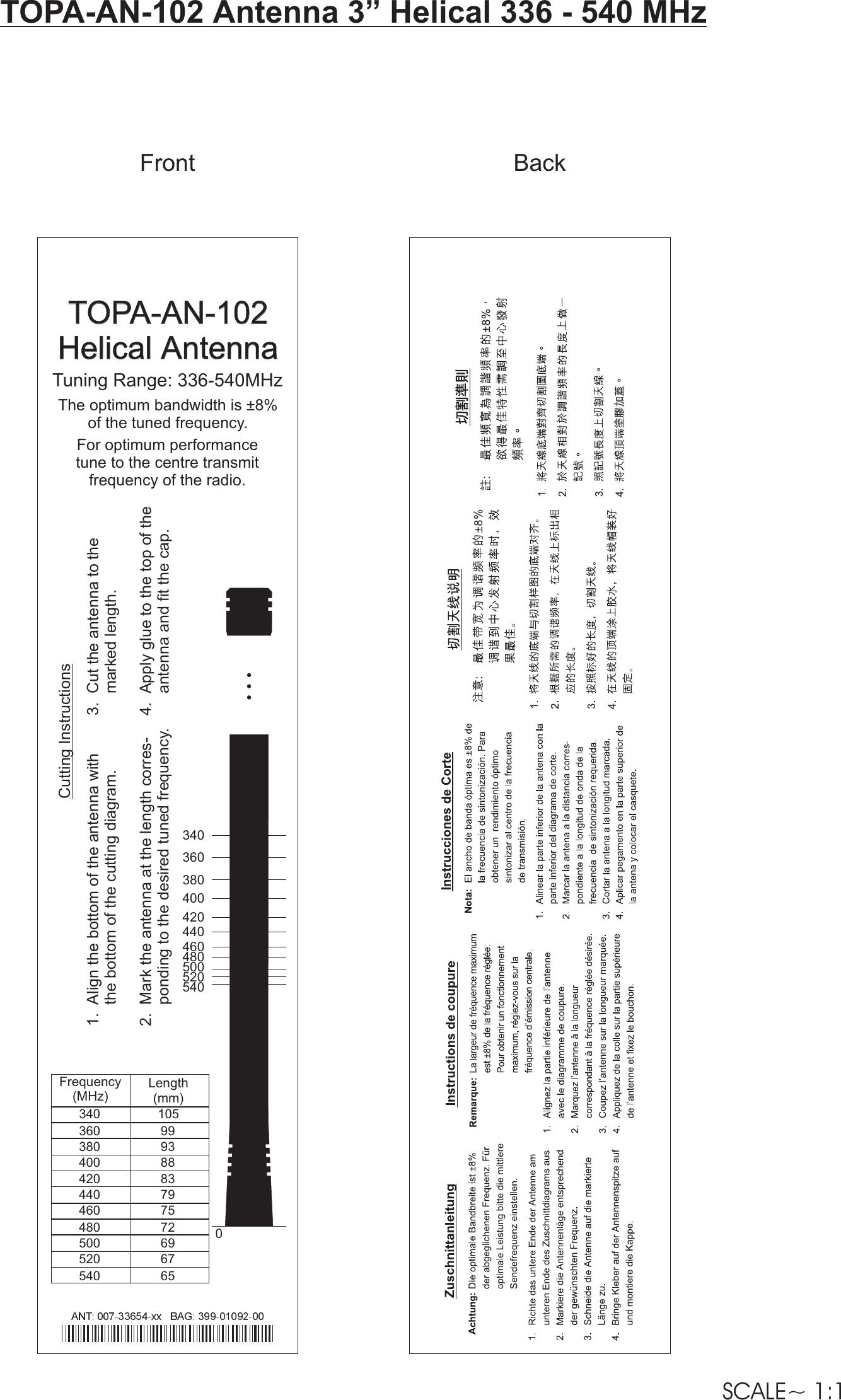 TOPA AN 102 T5000/T5000 AE Cutting Charts/TOPA