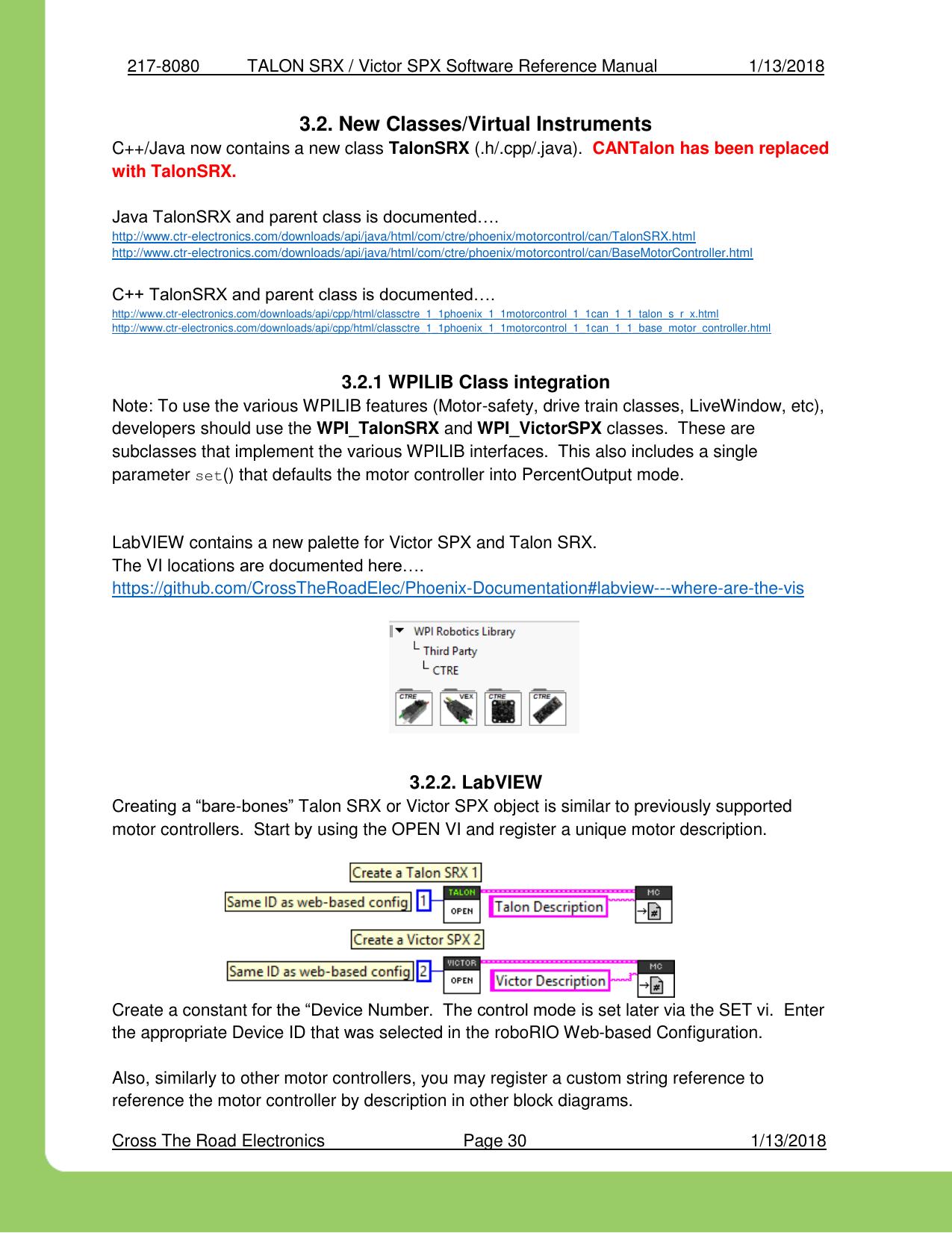 TALON SRX Software Reference Manualx Victor SPX Manual