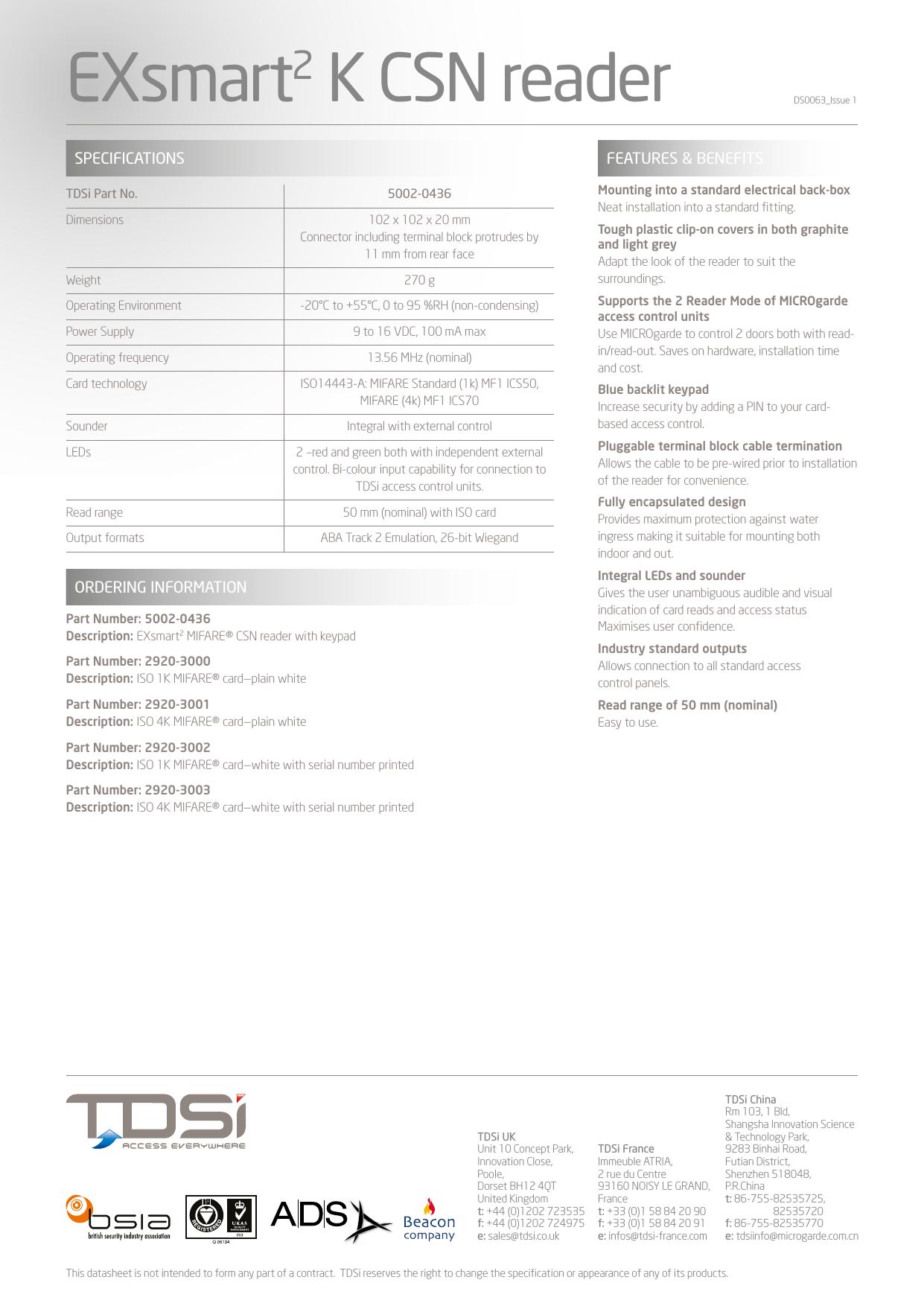 Page 2 of 2 - Tdsi50020436 User Manual