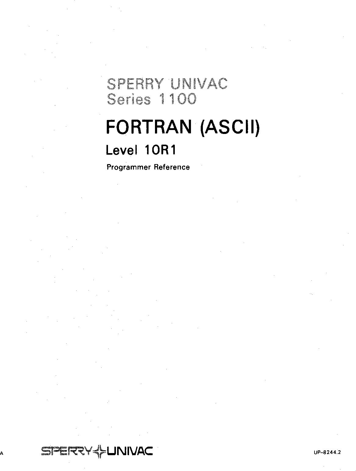 UP 8244 2_1100_ASCII_Fortran_10R1_1982 8244 2 1100 ASCII Fortran