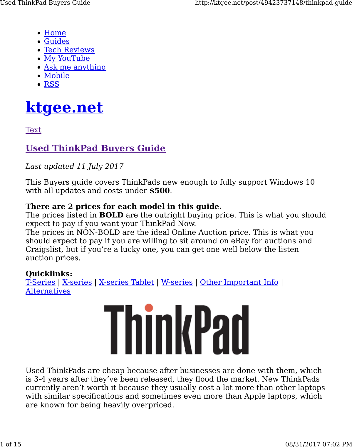 Used Thinkpad Buyers Guide