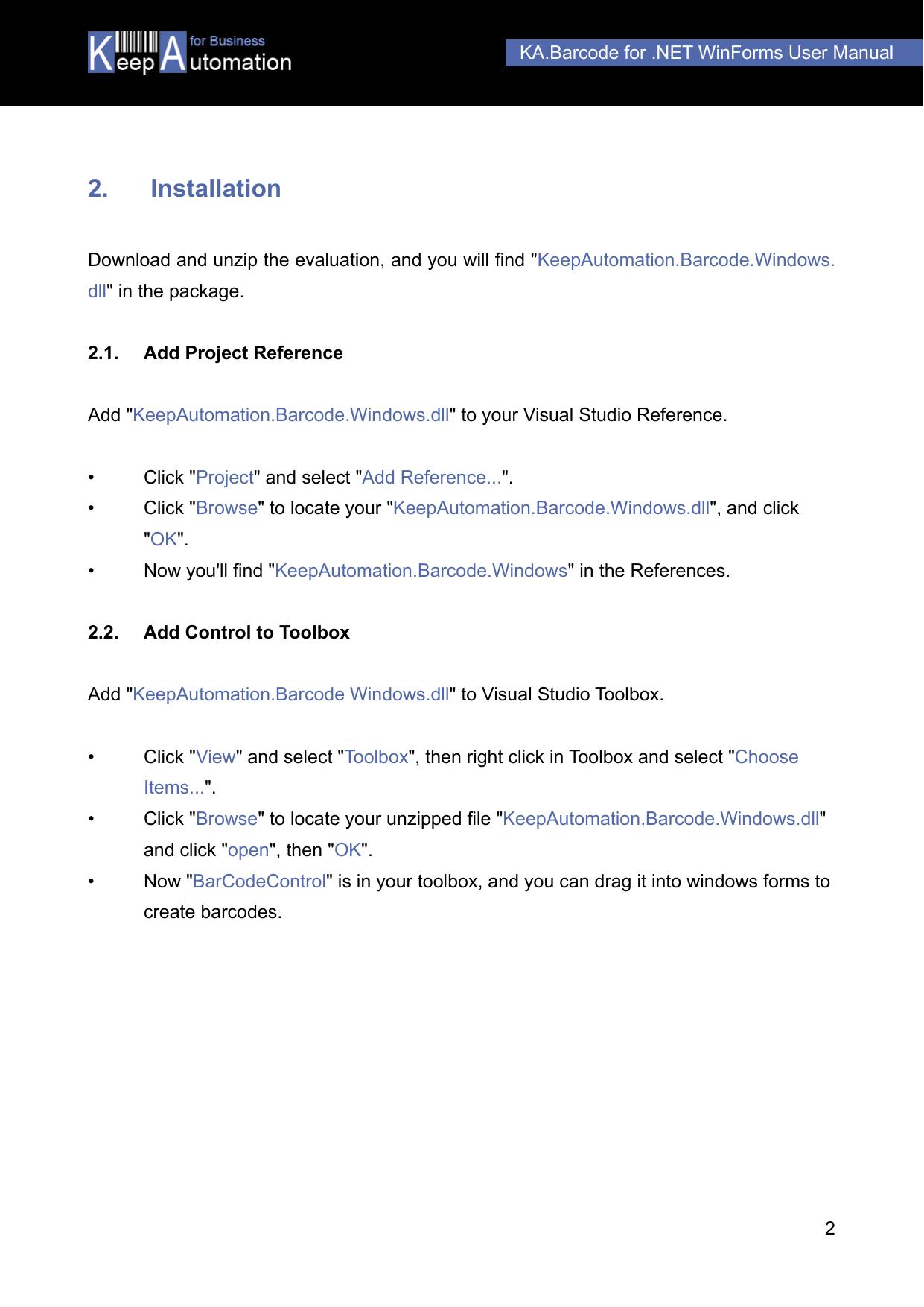 KA Barcode For  NET WinForms User Manual